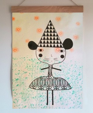Screenprint on canvas . Kids wall art exclusive piece, handprinted , handmade wood hanger.